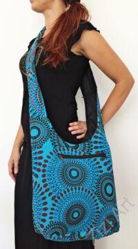 pamut, kék, színes, textil, mandalás, válltáska, egyedi, női, kiegészítő, divat, trend