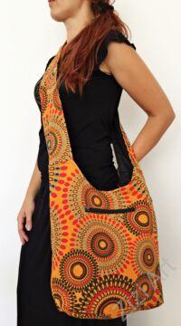 pamut, narancssárga, színes, textil, mandalás, válltáska, egyedi, női, kiegészítő, divat, trend