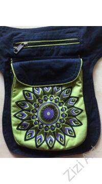 övtáska, egyedi, pamut, textil, táska, mandala, mintás, színes, barna, narancs, kiegészítő, trend. női, férfi divat