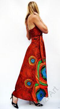 rozsda, barna, narancs, zöld, szürke, hosszú, pamut, ruha, Nepál, átlapolt, lapruha, bő, színes, körös, megkötős, szellős, könnyű, különleges, női, divat, trend, webshop