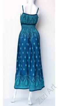 türkiz, kék, zöld, hosszú, viszkóz, ujjatlan, ruha, spagettipántos, levél, mintás, Thaiföld, bő, színes, szellős, könnyű, különleges, női, divat, nyári, trend, webshop