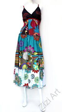 maxi, hosszú, pamut, ruha, ujjatlan, spagettipántos, patchwork, fűzős, türkiz, kék, zöld, fekete, piros fehér, Nepál, szellős, könnyű, különleges, női, divat, nyári, trend, webshop