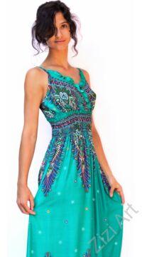 zöld, hosszú, viszkóz, ujjatlan, ruha, spagettipántos, levél, mintás, Thaiföld, bő, színes, szellős, könnyű, különleges, női, divat, nyári, trend, webshop