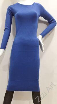 kék, kötött, hosszú ujjú, karcsúsított, pamut, hosszú, maxi, ruha, olasz, egyedi, vidám, elegáns, különleges, női, divat, bohém, trend