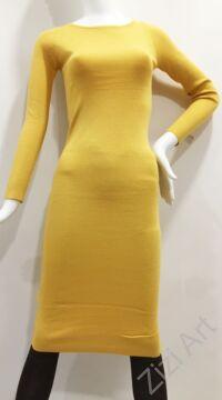 mustár, sárga, kötött, hosszú ujjú, karcsúsított, pamut, hosszú, maxi, ruha, olasz, egyedi, vidám, elegáns, különleges, női, divat, bohém, trend