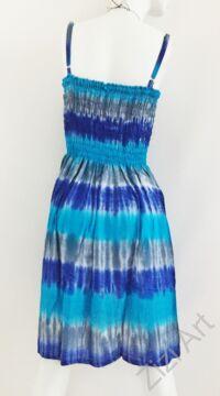 midi, ruha, színes, kék, szivárvány, batikolt, spagettipántos, vidám, bohém, hippi, laza, női, divat, trend