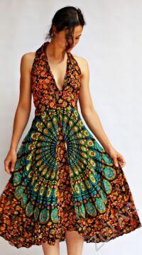 mandalás, narancs, kék, kiwi, zöld, fekete, viszkóz, hosszú, ruha, Indonéz, free size, bő, színes, körös, spagetti, nyak, megkötős, pántos, gumírozott, szellős, könnyű, különleges, női, divat, trend, webshop