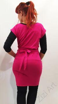 pink, rózsaszín, egyszínű, zsebes, térd, ruha, tunika, pamut, olasz, kényelmes, rövid ujjú, női, divat, trend, webshop