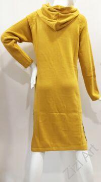 világos, mustár, sárga, fekete, kötött, hosszú, kapucnis, pulóver, hosszú, pitypang, virágos, pulcsi, hosszú ujjú, kerek, nyakú