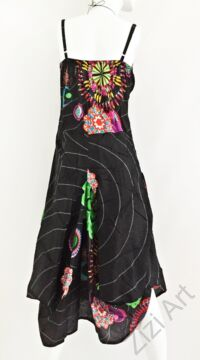 fekete, színes, virágos, pamut, puffos, zsebes, hosszú, ruha, spagettipántos, nyár, egyedi, egzotikus, női, divat, trend, webshop