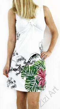 fehér, színes, pink, rózsaszín, virágos, kaméleon, ujjatlan, pamut, ruha, tunika, női, divat, ruházat, trend, India, egzotikus, egyedi, különleges, bohém, extravagáns, elegáns