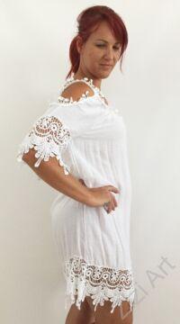 fehér pamut, lyukas vállú, ruha, nyári, felső, finom, ruha, bő, lezser, szellős, könnyű, különleges, női, divat, trend, webshop