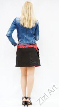 pamut, fekete, piros, zöld, kék, virág, mandala, mintás, színes, mini, szoknya, hímzett, oldalzsebes, bohém, egyedi, extravagáns, női, divat, trend