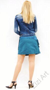 pamut, kék, virág, mandala, mintás, színes, mini, szoknya, hímzett, oldalzsebes, bohém, egyedi, extravagáns, női, divat, trend