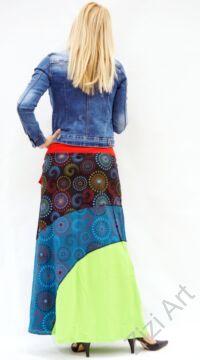 piros, fekete, zöld, kiwi, kék, színes, mandalás, hosszú, A-vonalú, pamut, szoknya, női, divat, trend, extravagáns, hippi, bohém