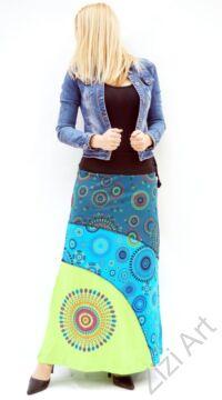 fekete, zöld, kiwi, kék, színes, mandalás, hosszú, A-vonalú, pamut, szoknya, női, divat, trend, extravagáns, hippi, bohém