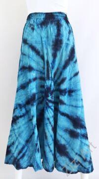 batikolt, hosszú, pamut, szoknya, zsebes, kék, bohém, női, divat, nyári, trend, Nepál