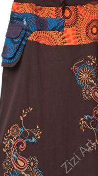 színes, virág, mandala, mintás, hosszú, A-vonalú, pamut, szoknya, kék, barna, piros, türkiz, bordó, női, divat, trend, extravagáns, egyedi, bohém