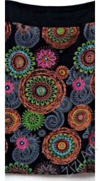 női, pamut, térdszoknya, kék, fekete, mályva, narancs, pink, mandala, virág, mintás, trend, divat, egyedi, bohém, extravagáns, egzotikus