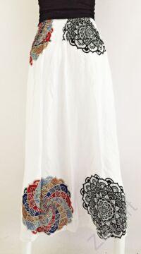 fehér, hosszú, viszkóz, mandala, színes, mintás, szoknya, A-vonalú, szellős, alkalmi, könnyű, különleges, női, divat, trend, webshop