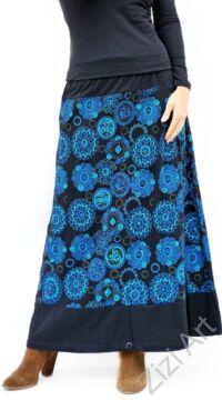 színes, fekete, kék, hímzett, mandalás, hosszú, A-vonalú, pamut, szoknya, női, divat, trend, extravagáns, hippi, bohém, Nepál