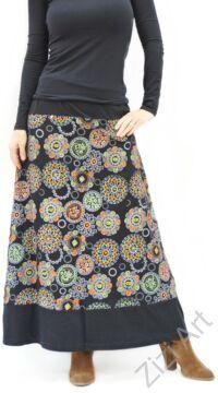 színes, fekete, zöld, narancs, sárga, kék, piros, hímzett, mandalás, hosszú, A-vonalú, pamut, szoknya, női, divat, trend, extravagáns, hippi, bohém, Nepál