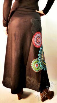 mandala, pamut, fekete, hosszú, szoknya, női divat, trend, egzotikus, egyedi, különleges, elegáns, hosszú