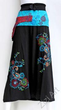 színes, fekete, kék, piros, hímzett, virágos, hosszú, A-vonalú, pamut, szoknya, női, divat, trend, extravagáns, hippi, bohém, Nepál