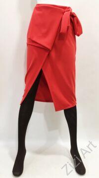 női, lazac, piros, megkötős, midi, szoknya, elegáns, trend, divat, egyedi, bohém, extravagáns, elasztikus, olasz