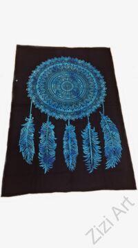 kék, fekete, ágytakaró, faltakaró, pamut, pamutvászon, lakástextil, India