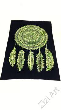 kiwi, zöld, fekete, ágytakaró, faltakaró, pamut, pamutvászon, lakástextil, India