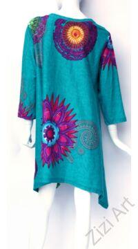 zöld, türkiz, hosszú ujjú, pamut, tunika, bő, ruha, felső, A-vonalú, Nepál, mandala, kör, virág, egzotikus, egyedi, vidám, élénk, különleges, női, divat, bohém, trend, színes
