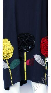 pamut, tunika, bő, ruha, felső, virág, mintás, kék, fekete, piros, sárga, hosszú ujjú, Olasz, egyedi, női, divat, bohém, trend