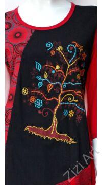 kék, türkiz, zöld, piros, fekete, színes, életfa, mandala, mintás, háromnegyed ujjú, pamut, tunika, ruha, Nepál, egzotikus, egyedi, vidám, elegáns, különleges, női, divat, bohém, trend