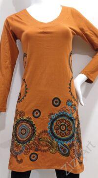 mustár, türkiz, kék, zöld, virág, mandala, mintás, hosszú ujjú, pamut, tunika, ruha, felső, Nepál, egzotikus, egyedi, különleges, női, divat, bohém, trend