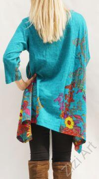 türkiz, kék, színes virágos, hosszú ujjú, pamut, tunika, bő, ruha, felső, A-vonalú, Nepál, egzotikus, egyedi, vidám, élénk, különleges, női, divat, bohém, trend