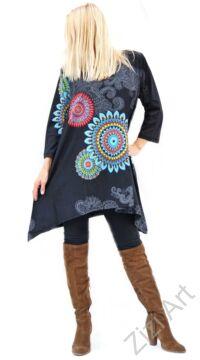 fekete, fehér, piros, kék, hosszú ujjú, pamut, tunika, bő, ruha, felső, A-vonalú, Nepál, csipke, mandala, kör, virág, egzotikus, egyedi, vidám, élénk, különleges, női, divat, bohém, trend, színes