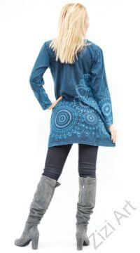 kék, hosszú ujjú, pamut, tunika, bő, mandalás, ruha, felső, A-vonalú, Nepál, egzotikus, egyedi, vidám, élénk, különleges, női, divat, bohém, trend