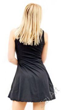 fekete, színes, hímzett, mandala, mintás, ujjatlan, harang, alakú, ruha, tunika, felső, női, divat, ruházat, trend, Nepál, egzotikus, egyedi, különleges, bohém, extravagáns, elegáns
