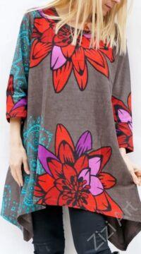 fekete, színes virágos, hosszú ujjú, pamut, tunika, bő, ruha, felső, A-vonalú, Nepál, egzotikus, egyedi, vidám, élénk, különleges, női, divat, bohém, trend