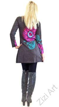 szürke, azúr, kék, pink, hosszú ujjú, virág, mandala, mintás, tunika, ruha, felső, pamut, Nepál, egzotikus, egyedi, színes, vidám, élénk, különleges, női divat, trend