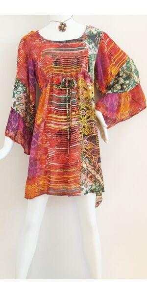 e1d07199a0 narancs, zöld, sárga, harang ujjú, viszkóz, nyári, felső, ruha