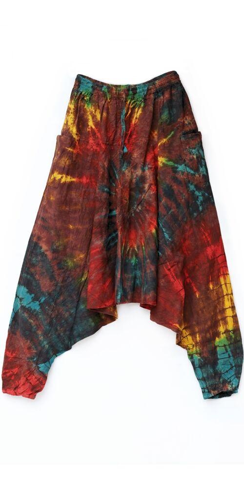 aladdin, pamut, nadrág, zsebes, bő szárú, batikolt, mintás, kényelmes, kék, zöld, piros, barna, sárga, fekete, fehér, bohém, goa, női, divat, trend, Nepál