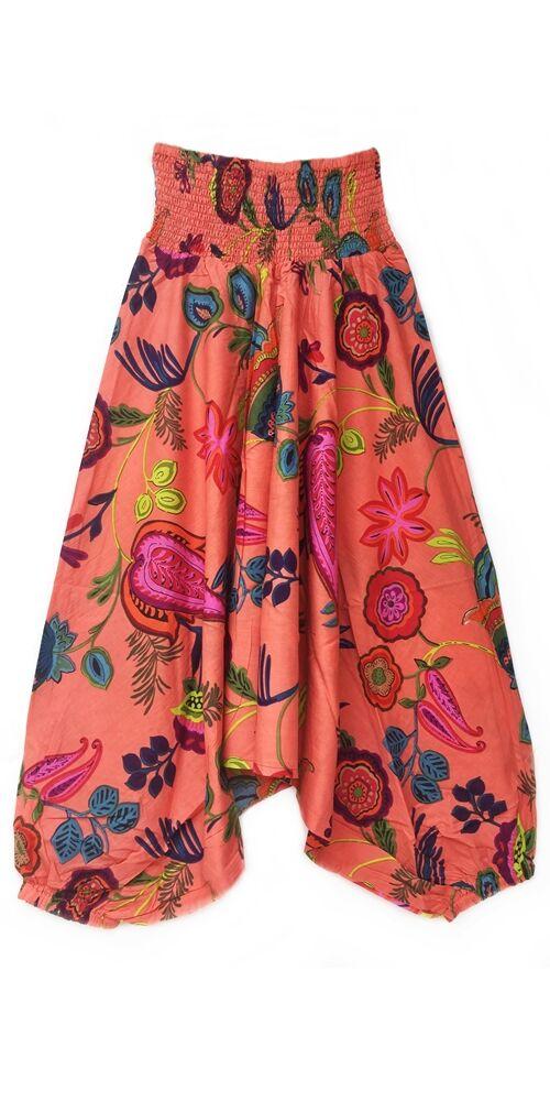 pamut, aladdin, nadrág, korall, barack, színes, virágos, divat, trend, bő, szárú, kényelmes, egyedi, extravagáns, Nepál