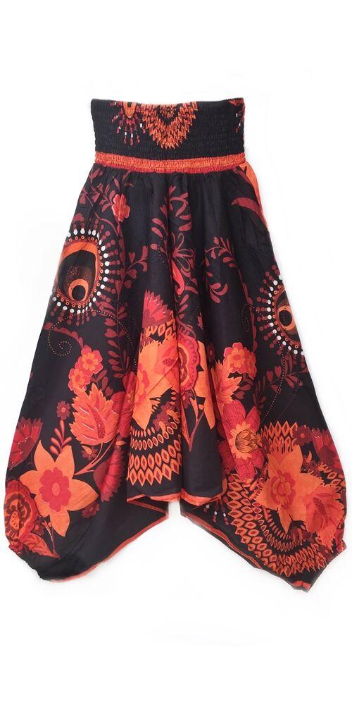 pamut, aladdin, nadrág, fekete, narancs, virágos, divat, trend, bő, szárú, kényelmes, egyedi, extravagáns, Nepál
