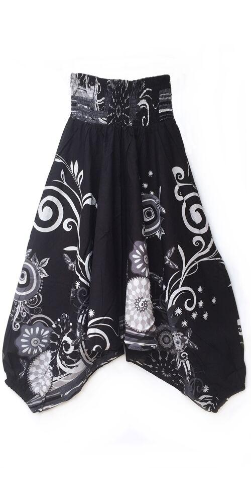 pamut, aladdin, nadrág, fekete, fehér, színes, virágos, divat, trend, bő, szárú, kényelmes, egyedi, extravagáns, Nepál