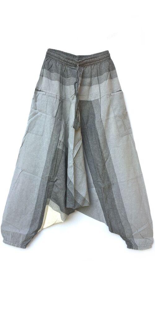 pamut, zsebes, krém, fehér, szürke, ekrü, lezser, bő, aladdin, nadrág, nő, divat, trend, bohém, egyedi