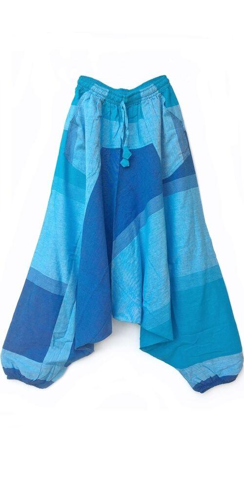 pamut, zsebes, kék, lezser, bő, aladdin, nadrág, nő, divat, trend, bohém, egyedi