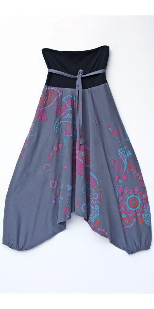 pamut, aladdin, nadrág, virág, mintás, szürke, kék, pink, színes, pamut, bő, lezser, Nepál, női, divat, trend, egyedi, extravagáns, bohém