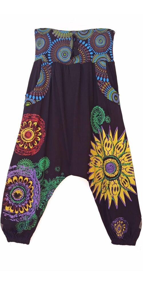 fekete, kék, zöld, pamut, bő, lezser, aladdin, nadrág, öv, rátét, Nepál, női, divat, trend, egyedi, extravagáns, bohém